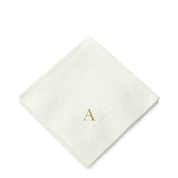 Monogrammed Paper Cocktail Napkins, Set of 40, A