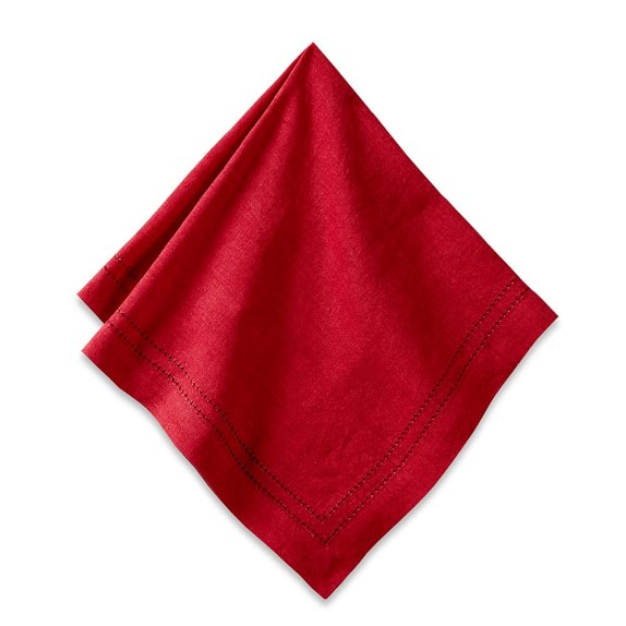Linen Double Hemstitch Napkins, Set of 4, Red