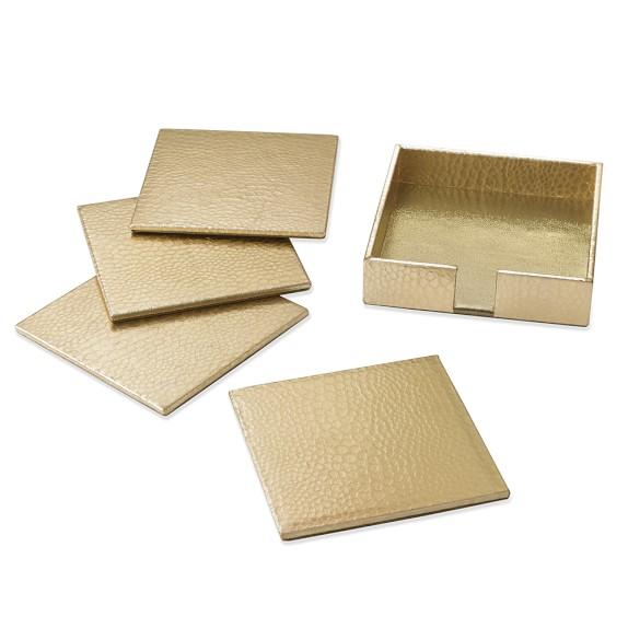 Embossed Croc Leather Coasters, Set of 4, Gold