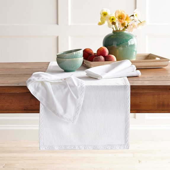 Chain Link Embroidered Table Runner, Bright White