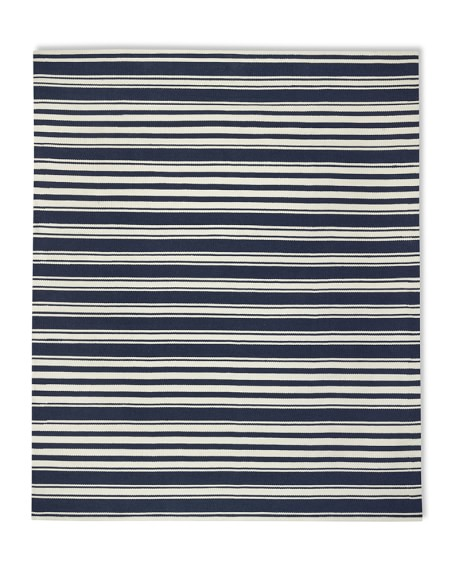 Riviera Stripe Indoor/Outdoor Rug, 9' X 12', Dress Blue/Egret
