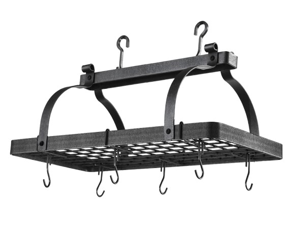 Enclume Classic Rectangular Pot Rack, Hammered Steel
