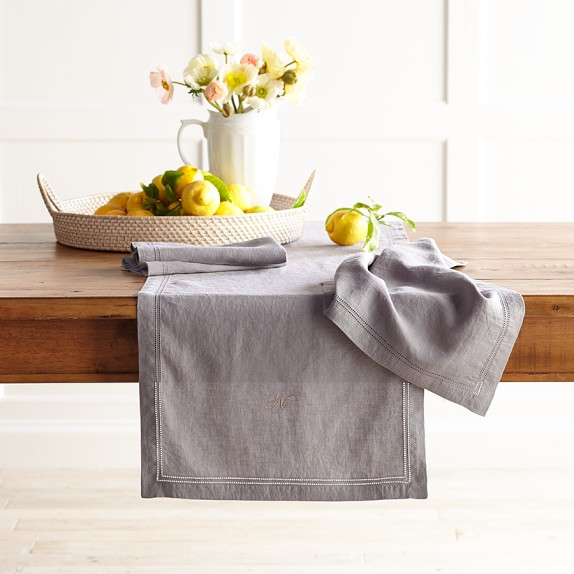 Linen Double Hemstitch Table Runner, Charcoal