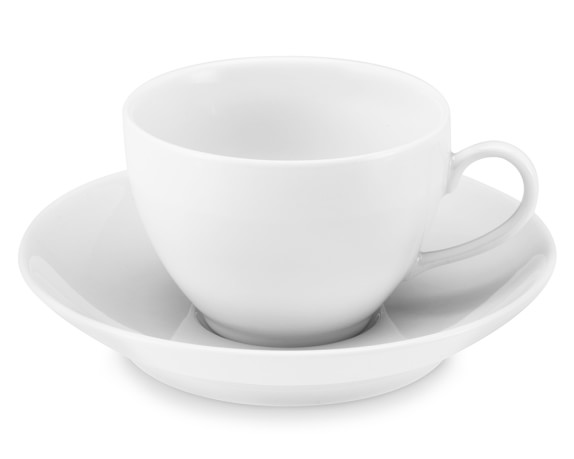 Pillivuyt Coupe Porcelain Cups & Saucers, Set of 4