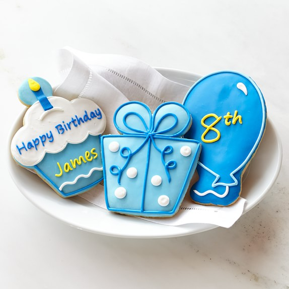 Personalized Giant Birthday Cookies for Him, Set of 3
