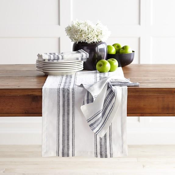 French Stripe Table Runner, Black