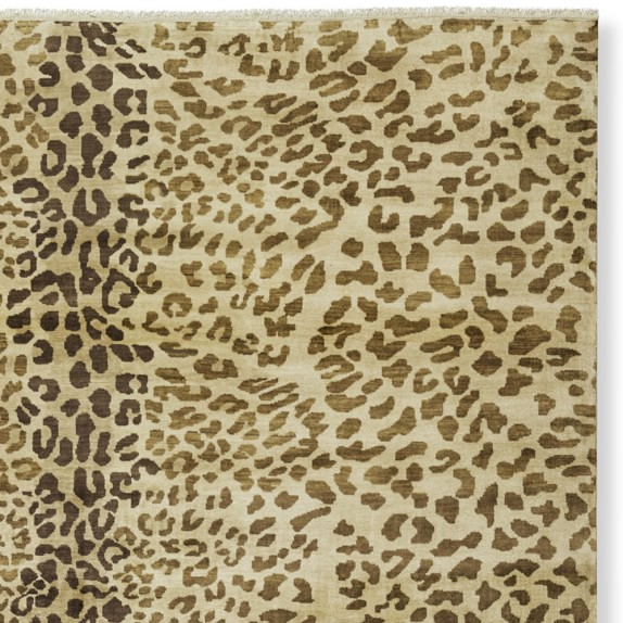Hand Knotted Leopard Rug Swatch, Tan