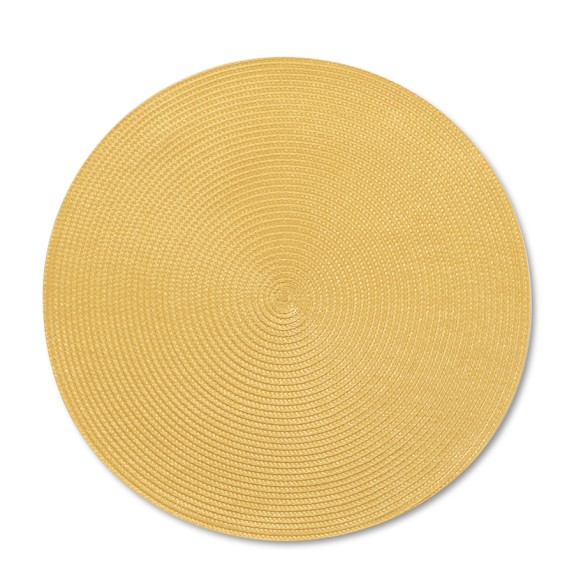 Round Woven Place Mats, Set of 2, Yellow