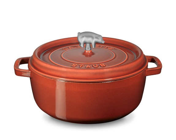 Staub Cast-Iron Round Wide Cocotte, 6-Qt., Red