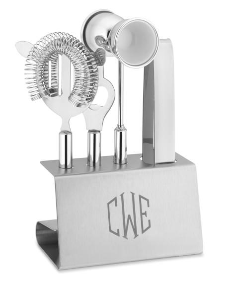 Monogrammed Stainless-Steel Bar Tool Set, Triple-Initial
