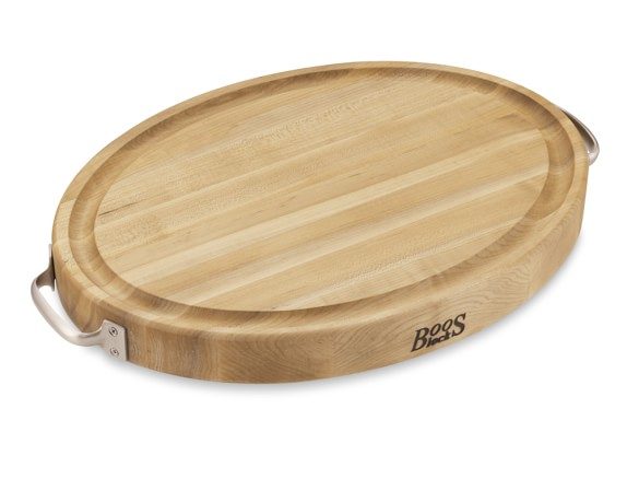 Boos Edge-Grain Oval Carving Board, Small