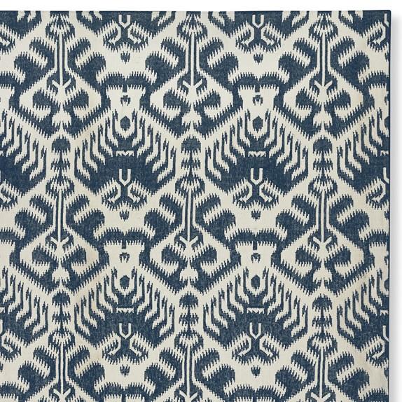 Ikat Medallion Indoor/Outdoor Dress Blue/Egret Rug Swatch