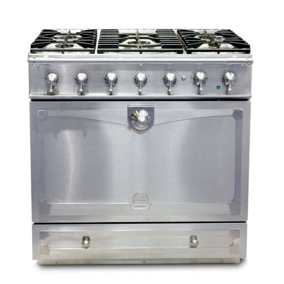 La Cornue Albertine Stainless-Steel Stove with Satin Chrome