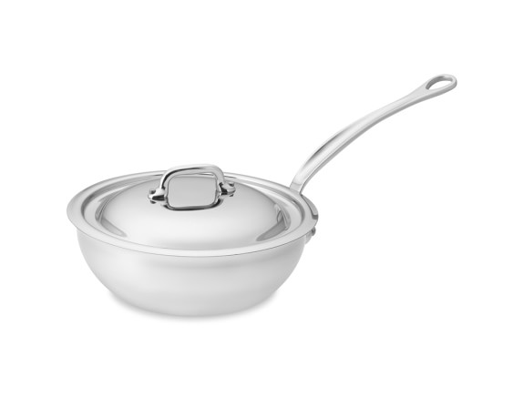 Mauviel M'Cook Curved Sauté Pan with Lid, 1 3/4-Qt.