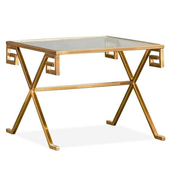Greek Key Table, Side, Glass Top, Brass