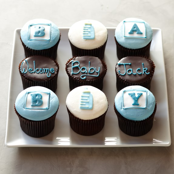 Personalized Baby Cupcakes for Him, Set of 9
