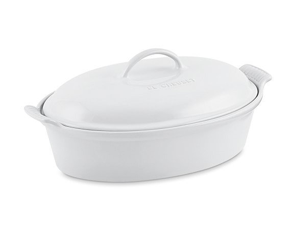 Le Creuset Heritage Stoneware Oval Covered Casserole, 4-Qt., White