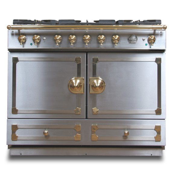 La Cornue CornuFé Stove, Stainless-Steel with Chrome & Brass