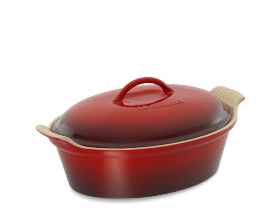 Le Creuset Stoneware Heritage Oval Covered Casserole, 2 1/2-Qt., Red