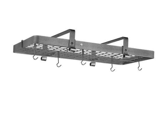 Enclume Low Ceiling Rectangular Pot Rack, Hammered Steel
