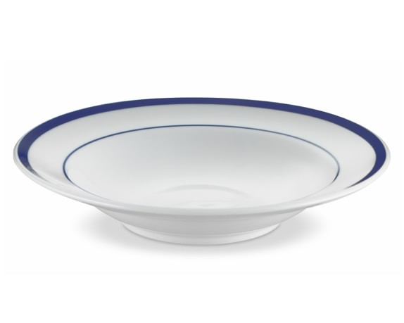 Brasserie Blue-Banded Porcelain Soup Bowls, Set of 4