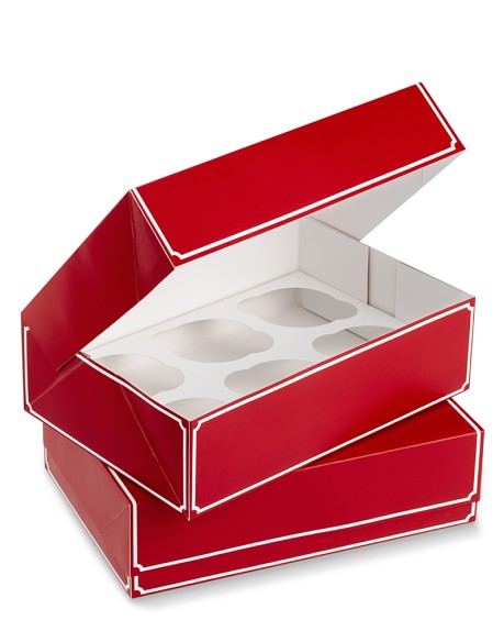 Red Cupcake Boxes, Set of 2