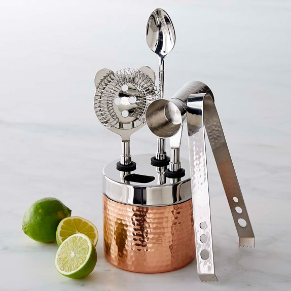 copper hammered bar tool set williams sonoma small home mini bar interior design with wooden bench as