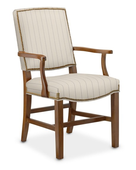 Hamilton Armchair, Cotton/Polyester, French Stripe, Dry Antique, Admiral