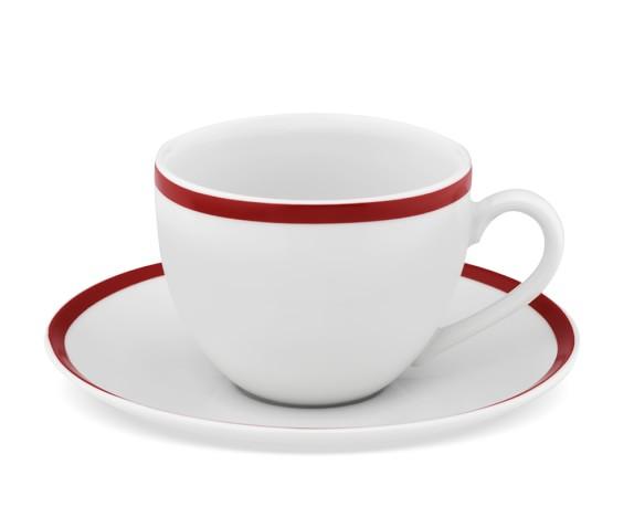 Brasserie Red-Banded Porcelain Cups & Saucers, Set of 4