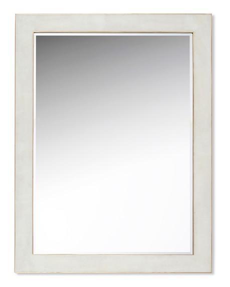 Brass Bordered Stone Wall Mirror, White