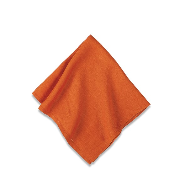Washed Linen Napkins, Set of 4, Pumpkin