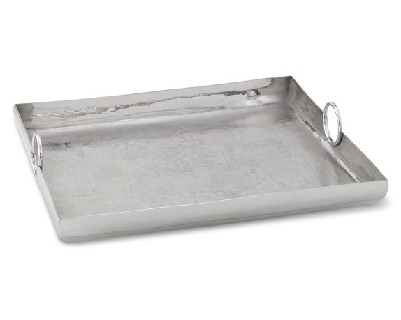 Embossed Metal Rectangular Tray with Handle