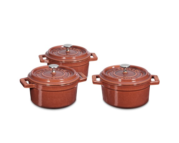 Staub Cast-Iron Mini Round Cocotte Set, 1/4-Qt., Red