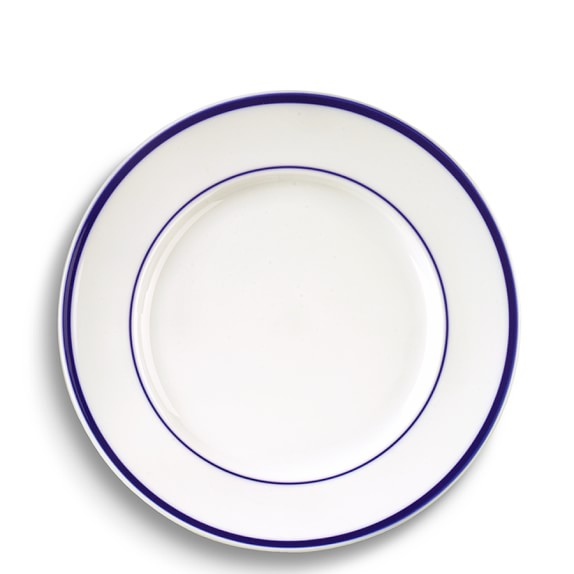 Brasserie Blue-Banded Porcelain Salad Plates, Set of 4