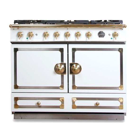 La Cornue CornuFé Stove, Ivory White with Chrome & Brass