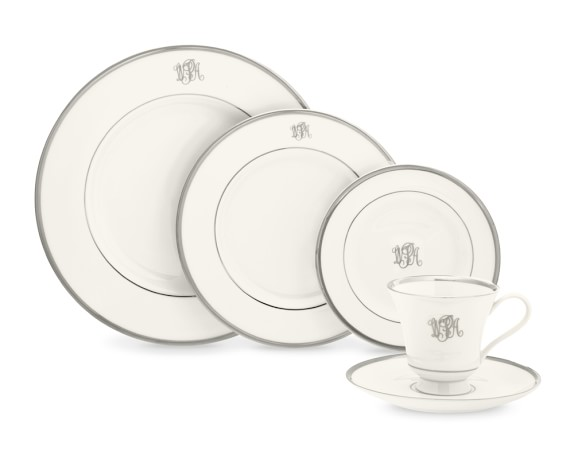 Pickard Signature Monogram 5-Piece Place Setting with Margaret teacup, Platinum