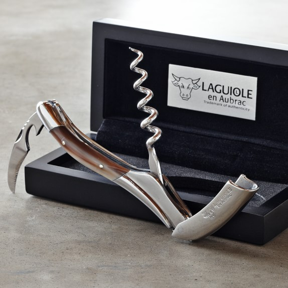 Laguiole En Aubrac Waiters Corkscrew Wine Opener, Solid Horn