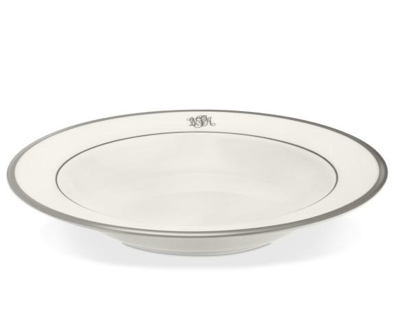 Pickard Signature Monogram Rimmed Soup Bowl, Platinum