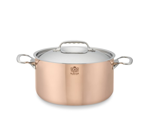 de Buyer Prima Matera Copper Stock Pot with Lid, 6 1/4-Qt.