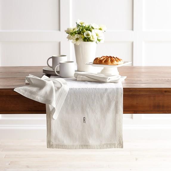 Linen Double Hemstitch Table Runner, Cream