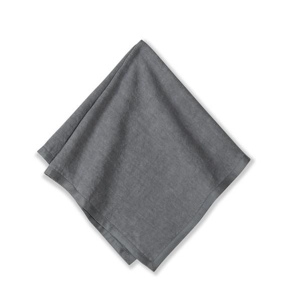 Silk Applique Border Napkins, Set of 4, Charcoal