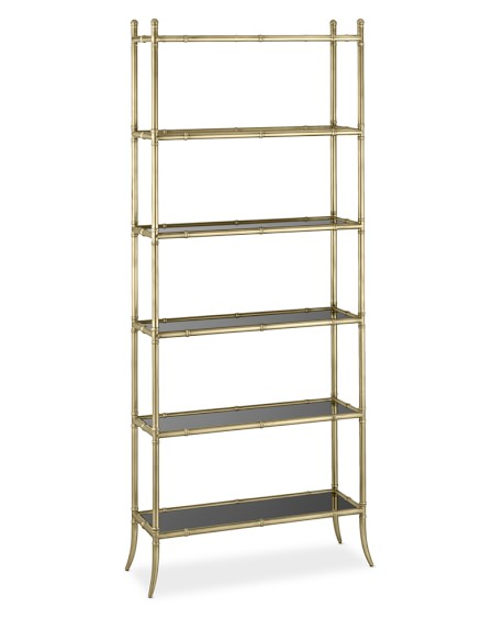 Tyler Etagere Black Glass 6-Shelf Bookcase, Antique Brass