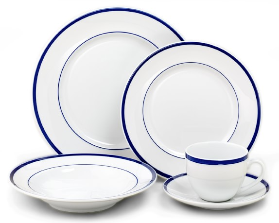 Brasserie Blue-Banded Porcelain 5-Piece Place Setting