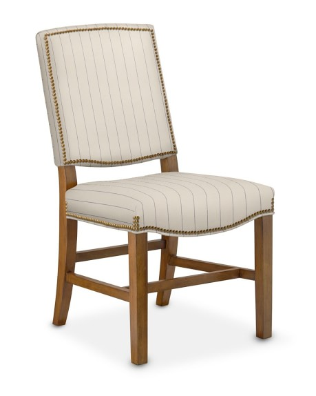 Hamilton Side Chair, Cotton/Polyester, French Stripe, Dry Antique, Admiral