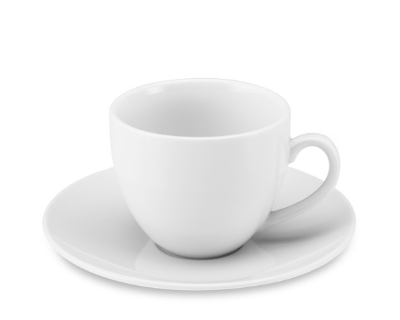 Brasserie All-White Porcelain Cups & Saucers, Set of 4