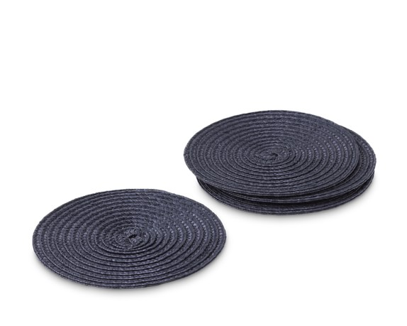 Round Woven Coasters, Set of 4, Blue