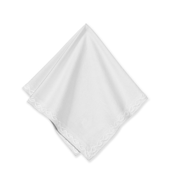 Chain Link Embroidered Napkins, Set of 4, Bright White