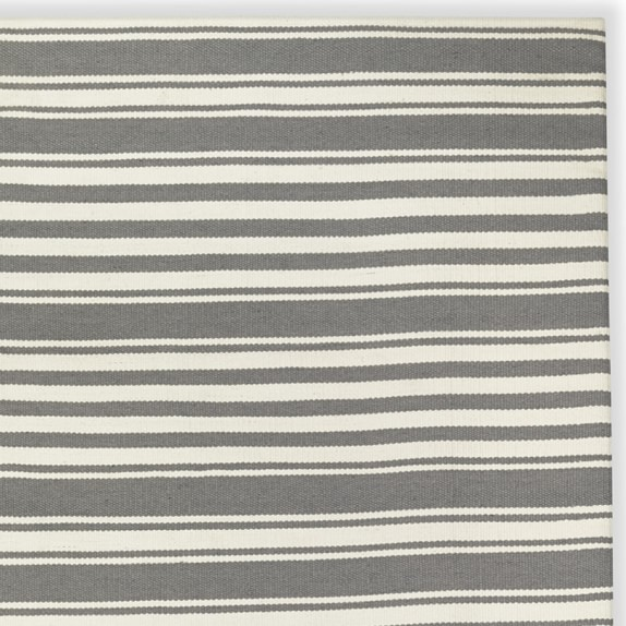 Riviera Stripe Indoor & Outdoor Rug Swatch, Steeple Gray/Egret