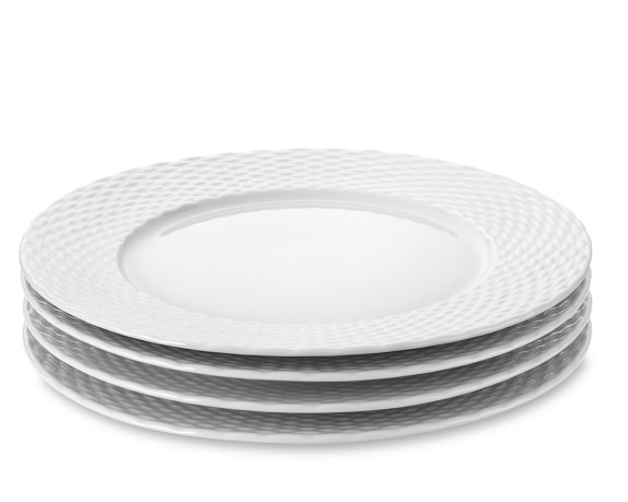 Pillivuyt Basketweave Porcelain Dinner Plates, Set of 4