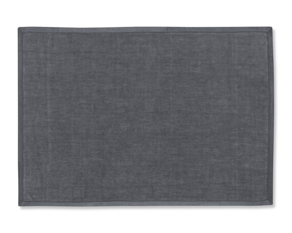 Silk Applique Border Place Mats, Set of 4, Charcoal